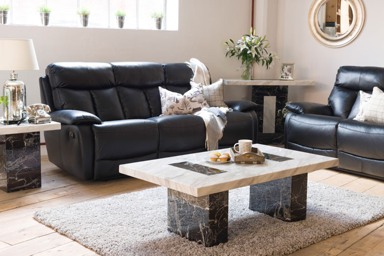 Strasbourg Marble Coffee Table Console Table And Seline 3 Seater Leather