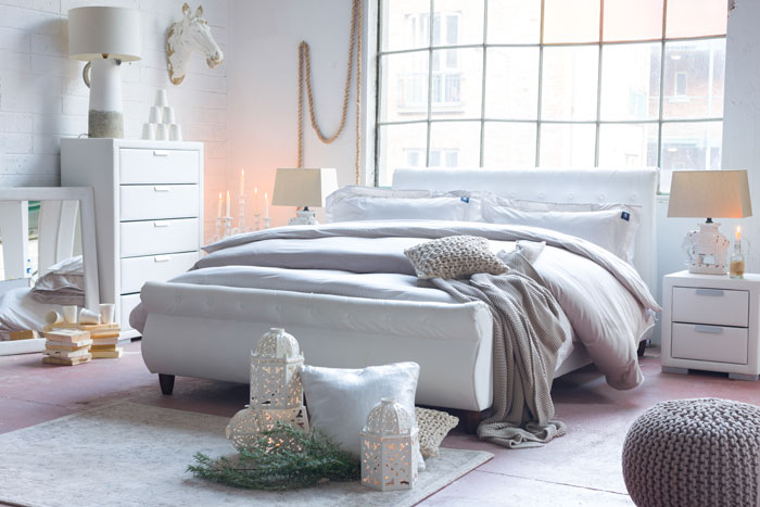 Light white accessories and furniture will brighten up your space, 'Torna'-Double-Bed Frame